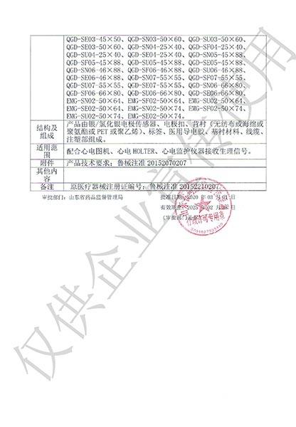 一次性使用心电电极产品注册证-2